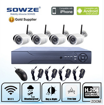 Low price security system bullet camera 4ch 720p outdoor nvr kit camera