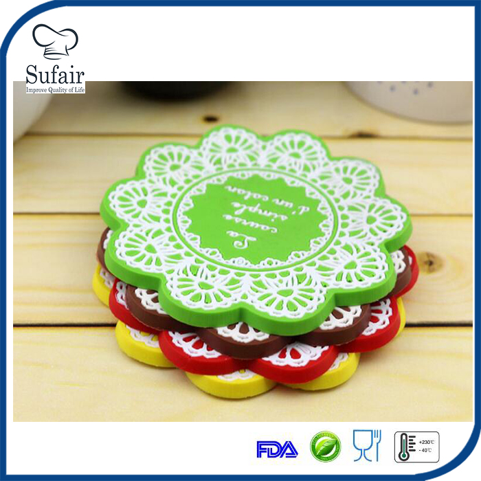 cute cup mat silicone rubber coaster for wine, glass, tea, coffee
