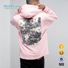 MGOO Custom Lightweight Hoodie 100 Cotton French Terry For Men Pink Pullover Custom Silk Screen Print Hoodies