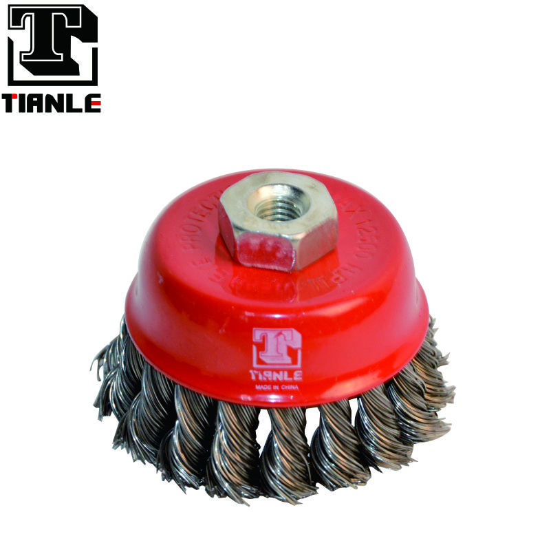 "TIANLE Long service life 4"" wire twist cup brush"