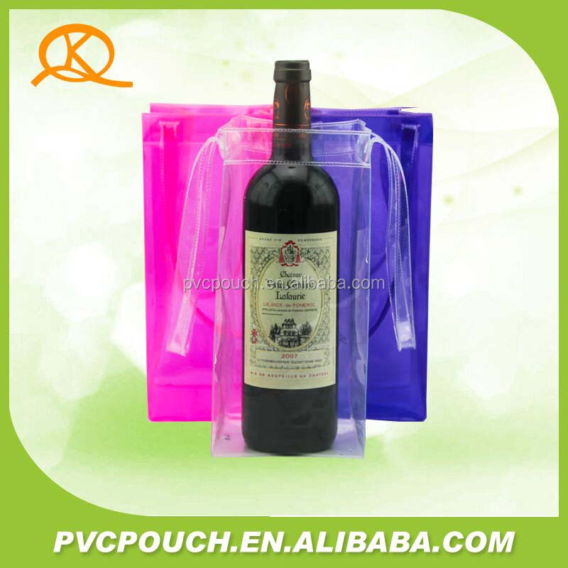 New fashional Pvc travel Wine bottle packing bag , Pvc recyclable stand up wine beer bag ,PVC clear wine bottle bag for promotio