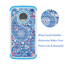 Customized Diamond Flower Painted Handmade Bling Phone Case For moto G5plus Cover Case Dropshipping