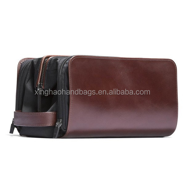 2017 High Quality Men's Leather and Nylon Wash Bag Functional Travel Dopp Kit