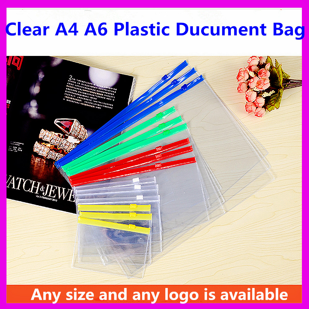 2017 Factory Custom Logo Printed A4 PVC Document Zipper Bag Waterproof Clear Vinyl PVC Bags With Zipper A4