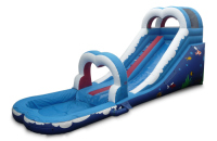 Blue Inflatable Ocean Wave Arch Slide with Pool /Inflatable Climbing Slide Slip
