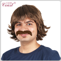 mens brown synthetic hair moustache wigs