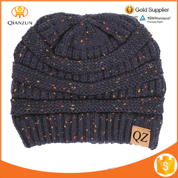 Unisex Custom leather patch Confetti Knit Beanie Thick Soft Warm Winter Hat