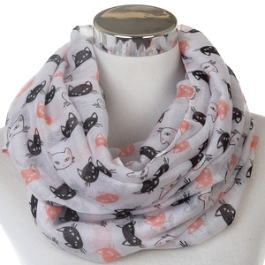 New Cute White Cat Print Circle Loop Infinity Scarf For Womens