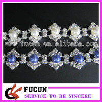 wholesale rhinestone chain trim with pearls for clothing