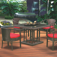 Wholesale new PE garden furniture wicker dining outdoor teak furniture