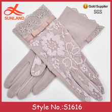 S1616 new korean style elegant women girls uv protection cotton lace gloves wholesale