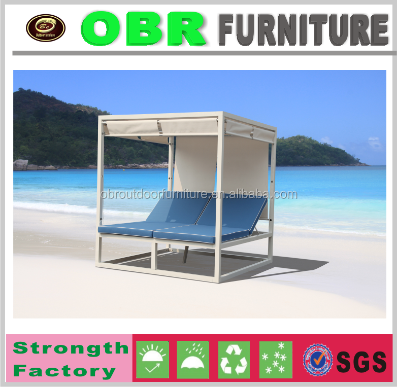 Latest Design outdoor leisure aluminum bed beach sun bed with curtain