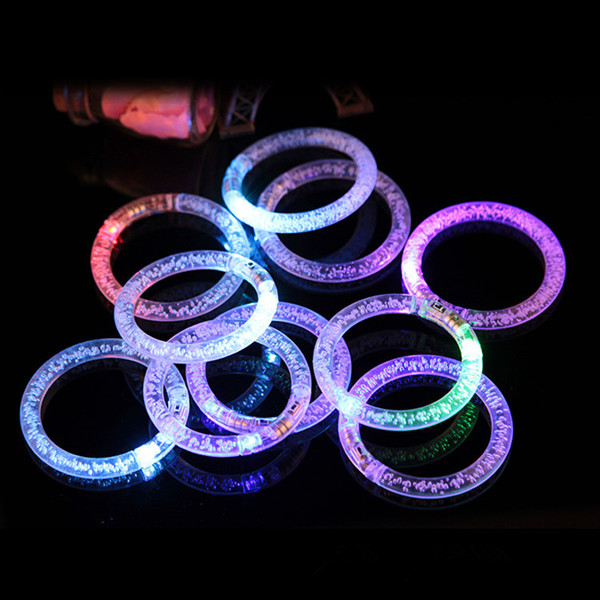 Light-Up Acrylic Bracelets Glow Binking Bubble Embed Wristbands Multicolor LED Flashing Rave Wedding Party Accessory