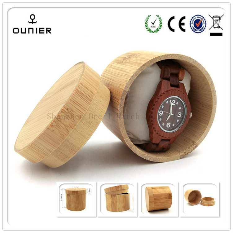 Newest style round shape wooden boxes watch case for sale