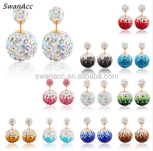Hot Sale Alloy Gold Color Shiny Crystal Colorful Ball Double Beads Stud Earring Charm Rhinestone Earrings For Women