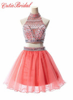 Peach Puffy Party Dress Short Halter Crystals Homecoming Dress Two Pieces Cocktail Dresses