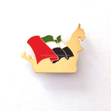 personalized cheap promotional lapel pin gold plating UAE map and flag shape badge