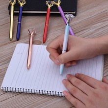 Hot selling big crystal charming diamond ballpoint pen with metal body
