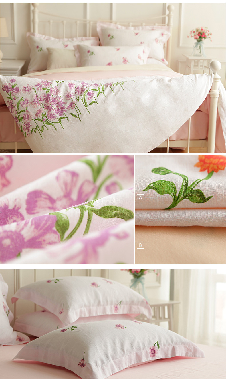 veken products 20%linen 80%cotton 300tc 60sx40s printed linen bed sheet