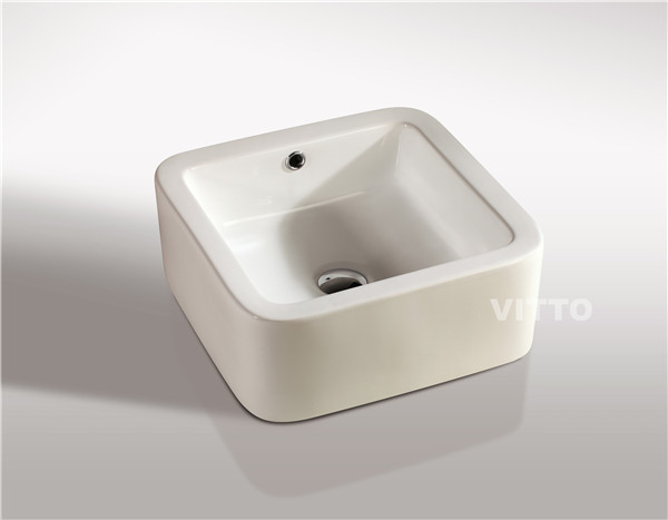 ceramic square on top basin | cabinet basin