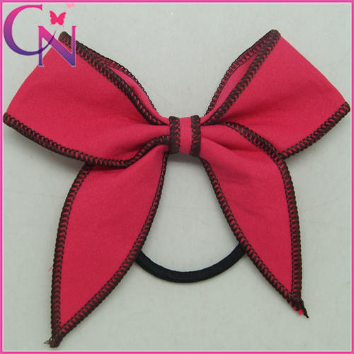 Wholesale Kids Hair Accessories, Cotton Ribbon Making 4.5 inch Bow Ponytail Holder with Rabbit Ear