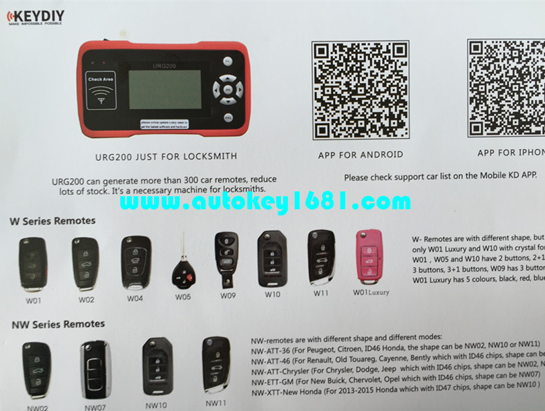 2016 newest diagnostic locksmith tool Remote Control Maker multi function auto key programmer for URG200 Transcend kd900