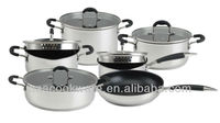 12pcs 18/8 Stainless Steel Non Stick Coating Cookware / Kitchenware Set