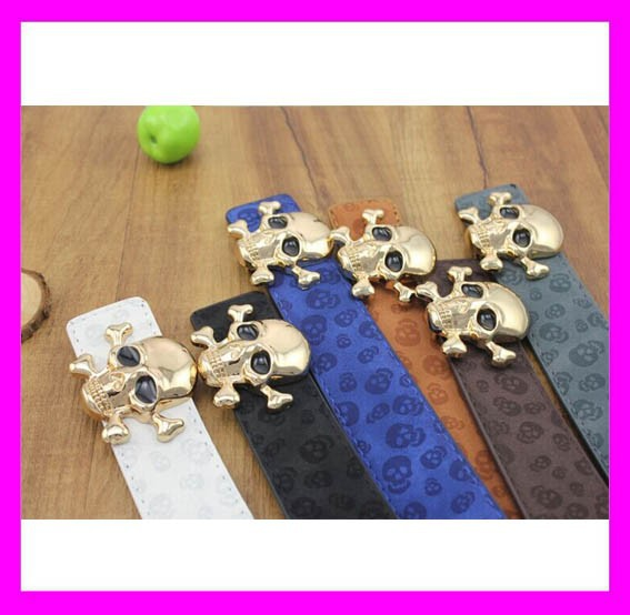 2015 New design western style fashion skull leather belt for men HD3348