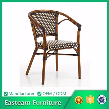 Metal Outdoor Faux Bamboo Aluminum Bistro The Armrest Dining Wholesale Rattan Wicker Chair
