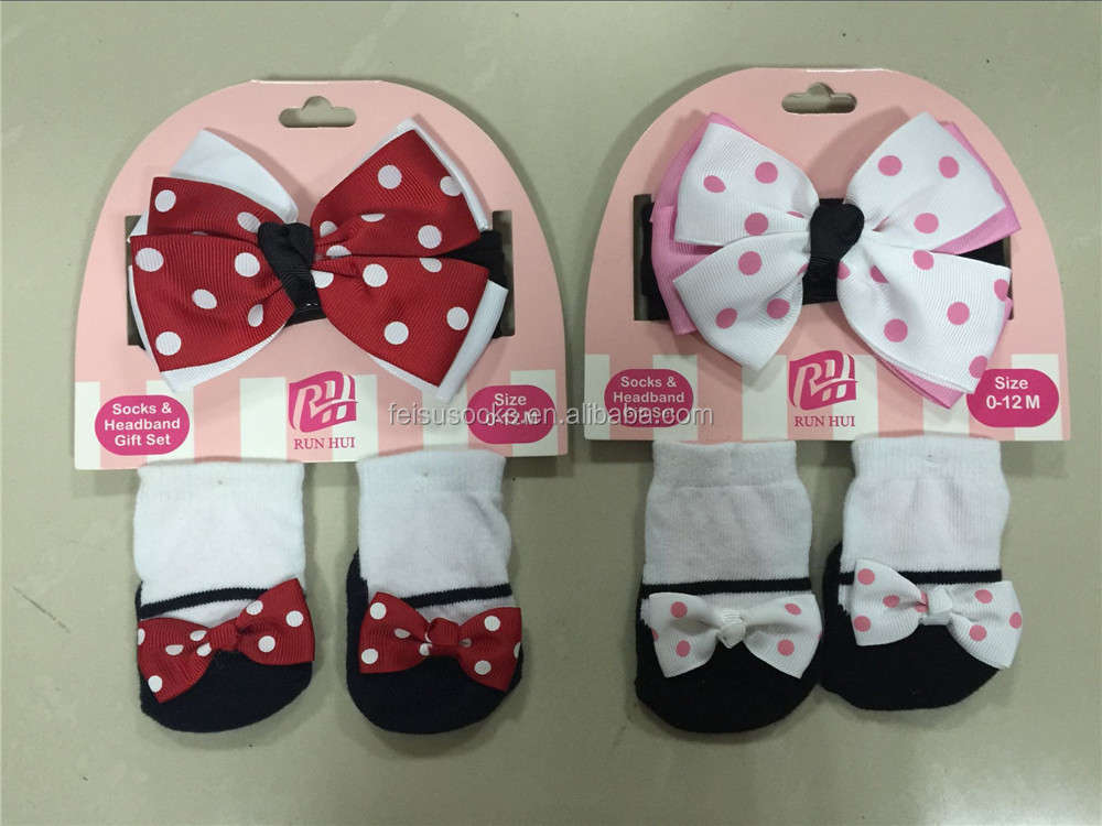 Super cute OEM custom high quality baby gift set for bow headband and socks