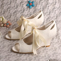 Ivory Lace Bridal Shoes Wedge Heel