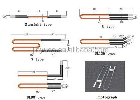 Industrial furnace thermoelectric element U type Molybdenum disilicide MoSi2 heating element