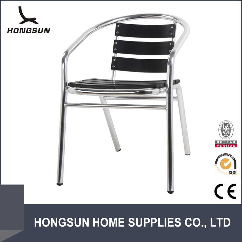 Outdoor Stackable Design Leisure Alu Frame Solid Bent Wood Chair
