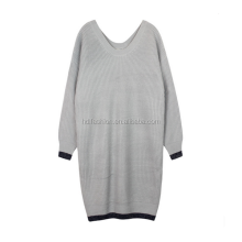 Dongguan factory simple design ladies winter one piece dress