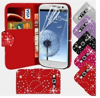 Chinese Factories Bling Diamond Leather Wallet Pouch Flip Case Cover for Samsung Galaxy s3 i9300--Laudtec