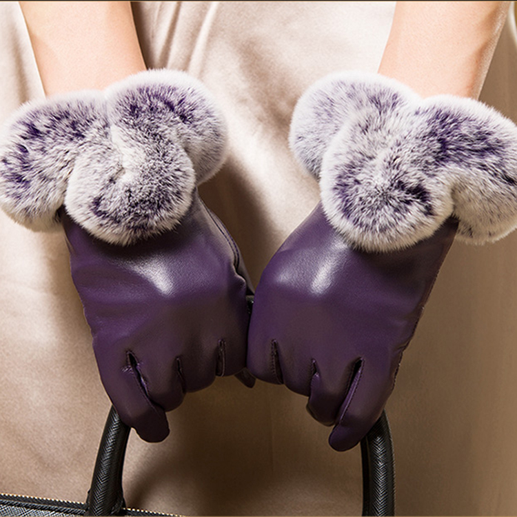China women rabbit fur cuff sheepskin leather purple fashion gloves for winter