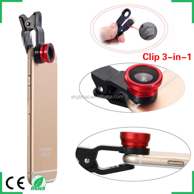 mobile phone camera lens photography accessories 3 in 1 lens kit for iphone ipad samsung galaxy s6 s5 s4 htc one m7 m8 m9
