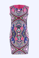 Lady's digital printed silk print flower dresses printing sleeveless Vestidos casual