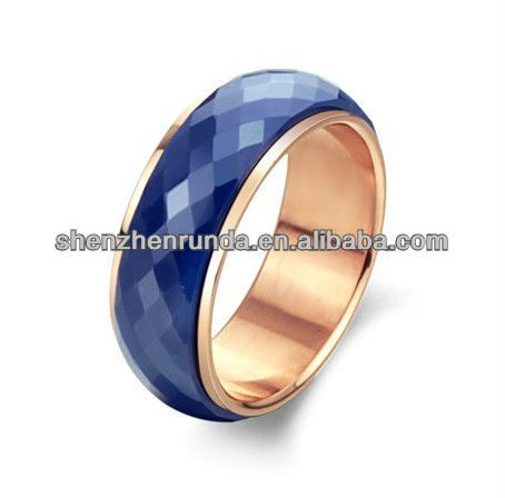 wholesale new style fashion jewelry stainless steel women blue Ceramics diamond ring