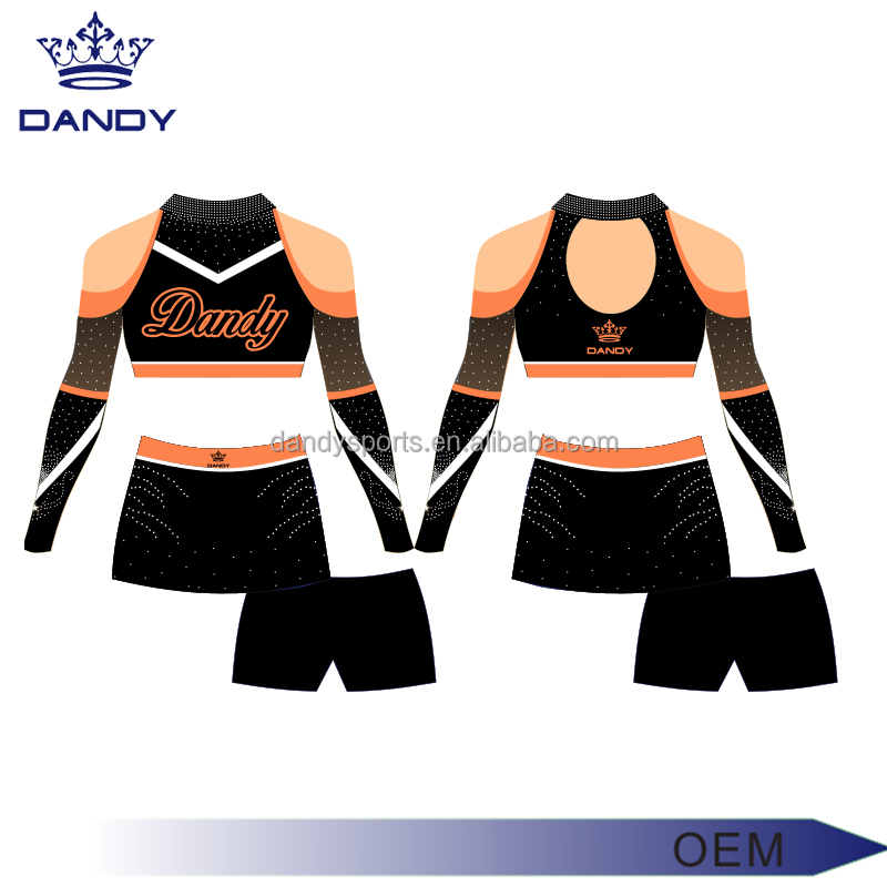 Plus size full digital sublimation tranfer printing cheerleading uniform breathable dry fit and cool max cheerleading uniform
