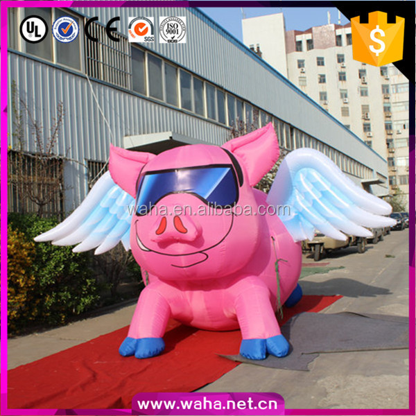 2016 New design giant inflatable flying pink pig