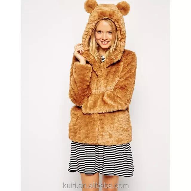 women fur cute coats autumn winter lady faux fur coat with ear hood leopard tiger grain thick full sleeve faux fur coat