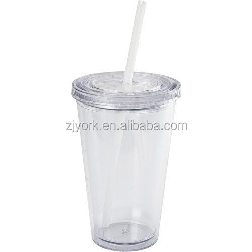 Promotional Logo Printed 16oz Plastic Straw Cup