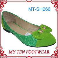 Fantastic Nice Glitter Ladies Green Leather Flat Shoes