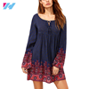 summer women latest design dress fashion Floral PrintedFall Ladies Round Neck mini casual dress