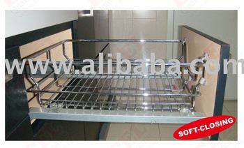 Soft close closing Kitchen Wire Basket Pull Out Chrome Steel