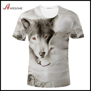 China import t shirt for men with 3D love wolf print