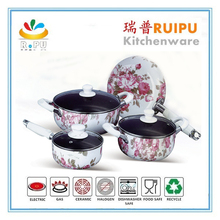 Flower cookware set forged ceramic coating nonstick aluminum cookware sets