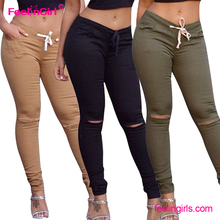 Fast delivery khaki casual new model ladies jeans pants for women