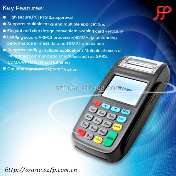 2016 New8210 EMV and PCI certificated POS terminal for MSR IC RFID payment